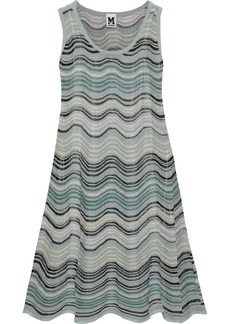 M Missoni Woman Metallic Crochet-knit Mini Dress Grey Green