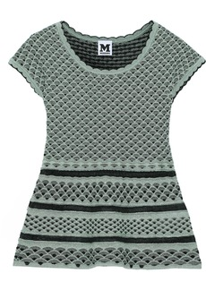 M Missoni Woman Metallic Crochet-knit Peplum Top Jade