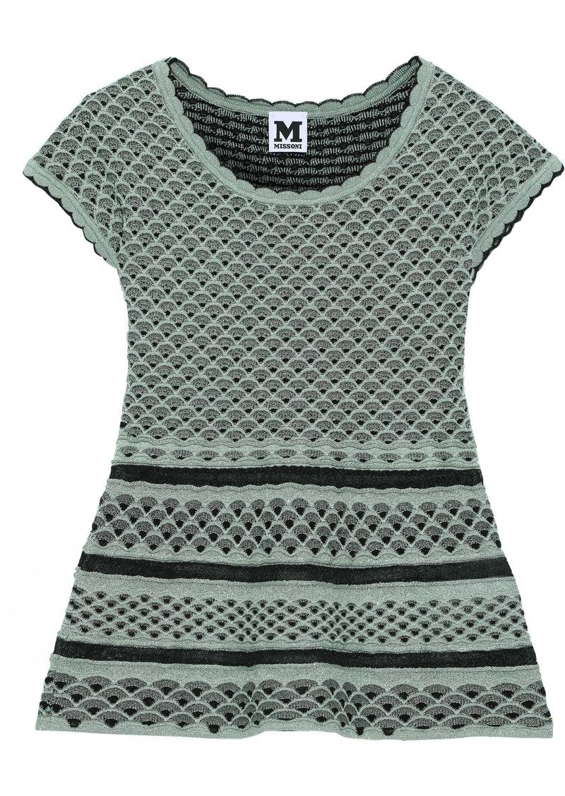 M Missoni Woman Metallic Crochet-knit Peplum Top Jade