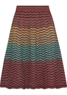 M Missoni Woman Metallic Crochet-knit Skirt Brick