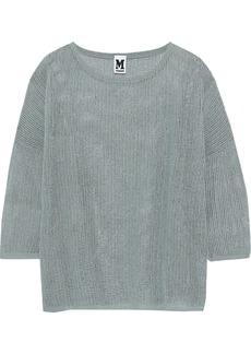 M Missoni Woman Metallic Crochet-knit Top Grey Green