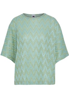 M Missoni Woman Metallic Crochet-knit Top Mint