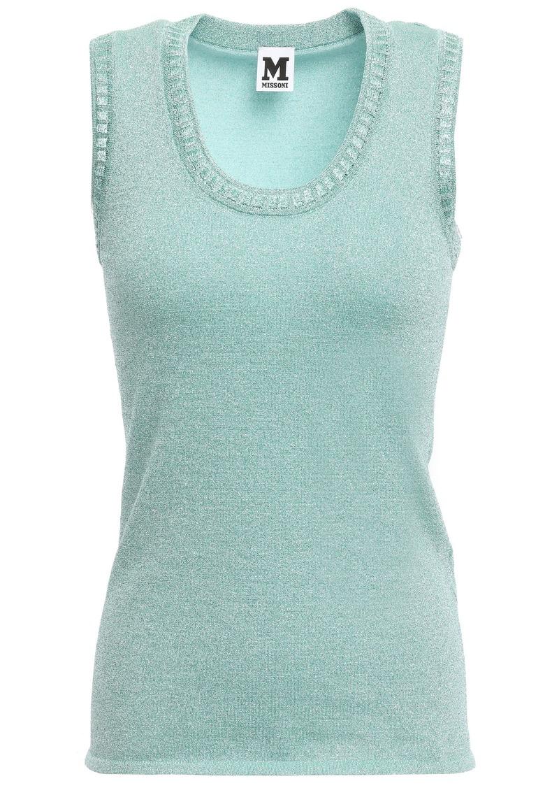 M Missoni Woman Metallic Crochet-knit Top Turquoise