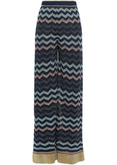 M Missoni Woman Metallic Crochet-knit Wide-leg Pants Black