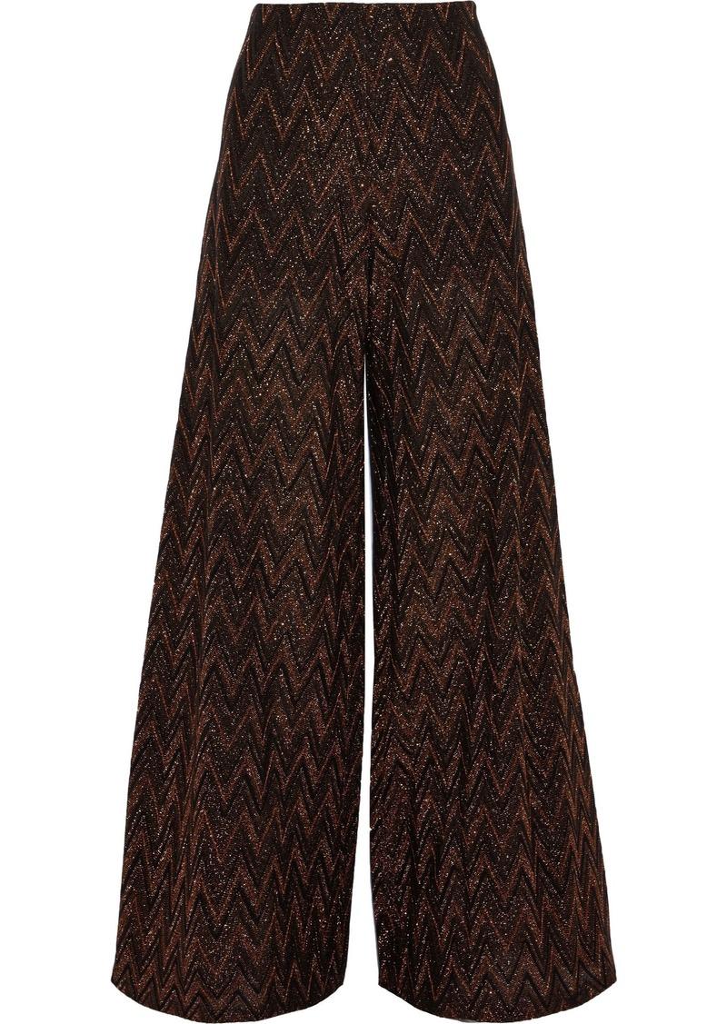 M Missoni Woman Metallic Crochet-knit Wide-leg Pants Black