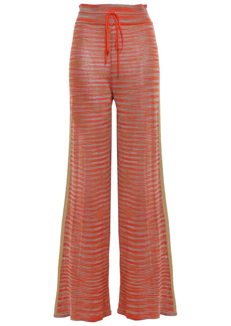 M Missoni Woman Metallic Crochet-knit Wide-leg Pants Bright Orange