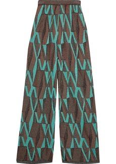 M Missoni Woman Metallic Crochet-knit Wide-leg Pants Brown