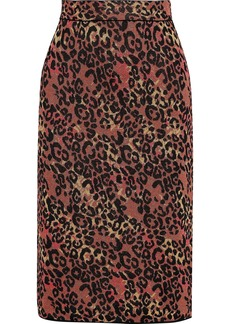 M Missoni Woman Metallic Jacquard-knit Pencil Skirt Crimson