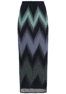 M Missoni Woman Metallic Knitted Maxi Skirt Midnight Blue