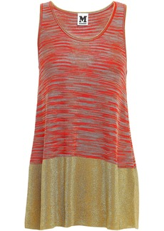 M Missoni Woman Metallic-paneled Crochet-knit Tank Bright Orange