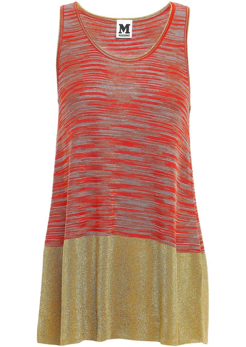 M Missoni Woman Metallic-paneled Crochet-knit Tank Bright Orange