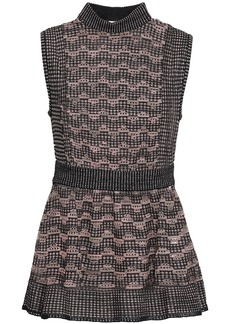 M Missoni Woman Metallic Pointelle-knit Peplum Top Blush