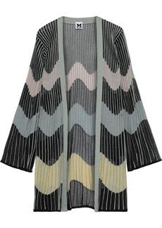 M Missoni Woman Metallic Ribbed Crochet-knit Cardigan Light Green