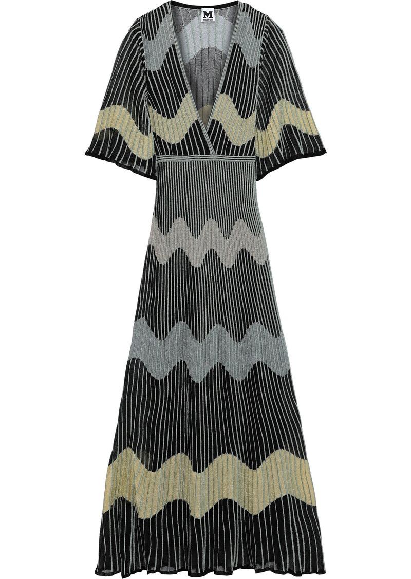 M Missoni Woman Metallic Ribbed Crochet-knit Maxi Dress Black