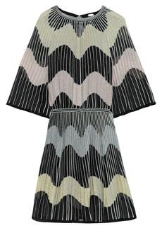 M Missoni Woman Metallic Ribbed Crochet-knit Mini Dress Black