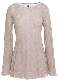 M Missoni Woman Metallic Ribbed Crochet-knit Top Blush