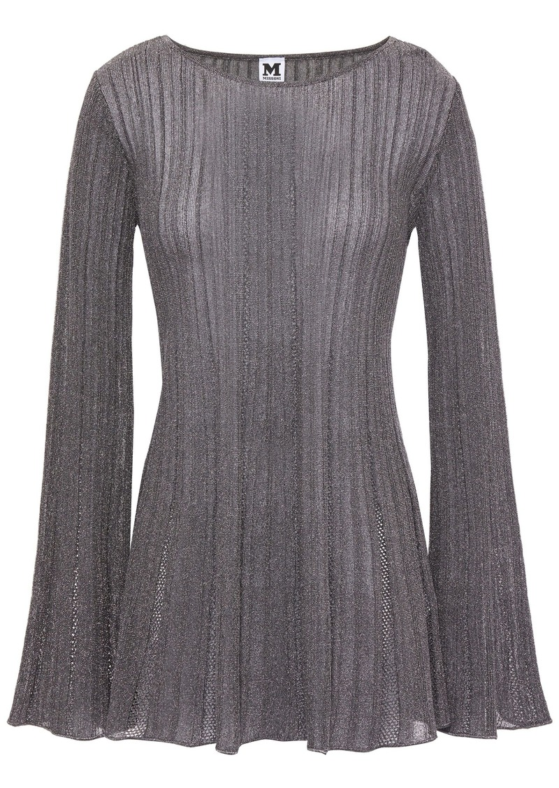 M Missoni Woman Metallic Ribbed Crochet-knit Top Anthracite