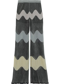M Missoni Woman Metallic Ribbed Crochet-knit Wide-leg Pants Black
