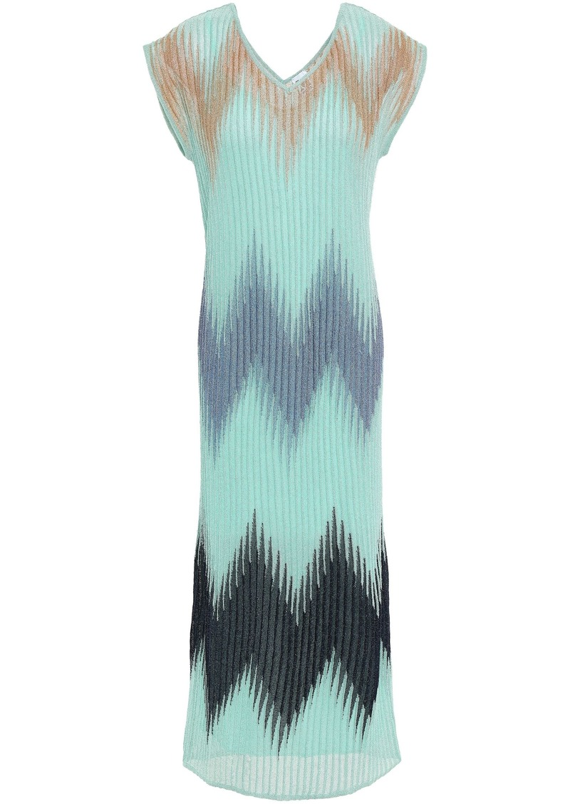M Missoni Woman Metallic Ribbed-knit Midi Dress Mint