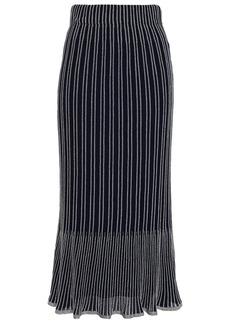 M Missoni Woman Metallic Striped Ribbed Cotton-blend Midi Skirt Navy