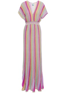 M Missoni Woman Metallic Striped Crochet-knit Maxi Dress Fuchsia