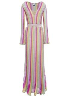 M Missoni Woman Metallic Striped Crochet-knit Maxi Dress Fuchsia