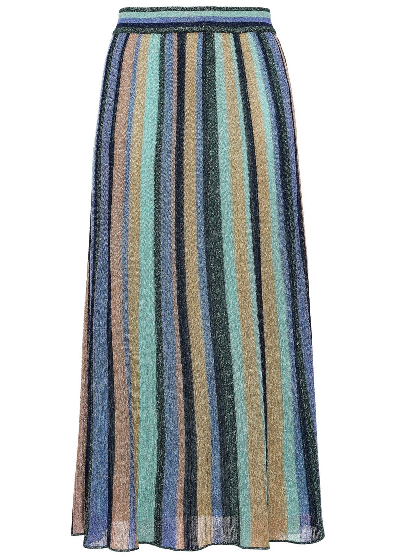 M Missoni Woman Metallic Striped Knitted Midi Skirt Multicolor