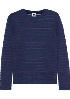 M Missoni Woman Metallic Striped Knitted Sweater Midnight Blue