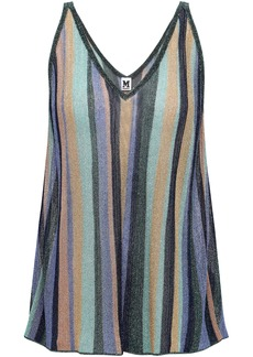 M Missoni Woman Metallic Striped Knitted Tank Multicolor