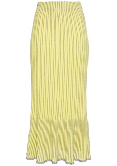 M Missoni Woman Metallic Striped Ribbed Cotton-blend Midi Skirt Bright Yellow