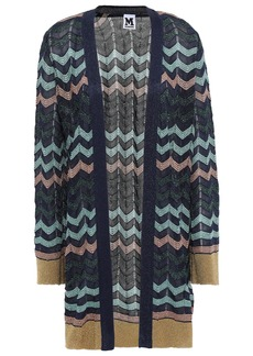M Missoni Woman Metallic-trimmed Crochet-knit Cardigan Navy