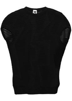 M Missoni Woman Metallic-trimmed Crochet-knit Top Black