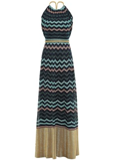 M Missoni Woman Open-back Metallic Crochet-knit Maxi Dress Navy