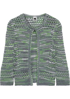 M Missoni Woman Open-knit Cotton And Linen-blend Cardigan Grey Green