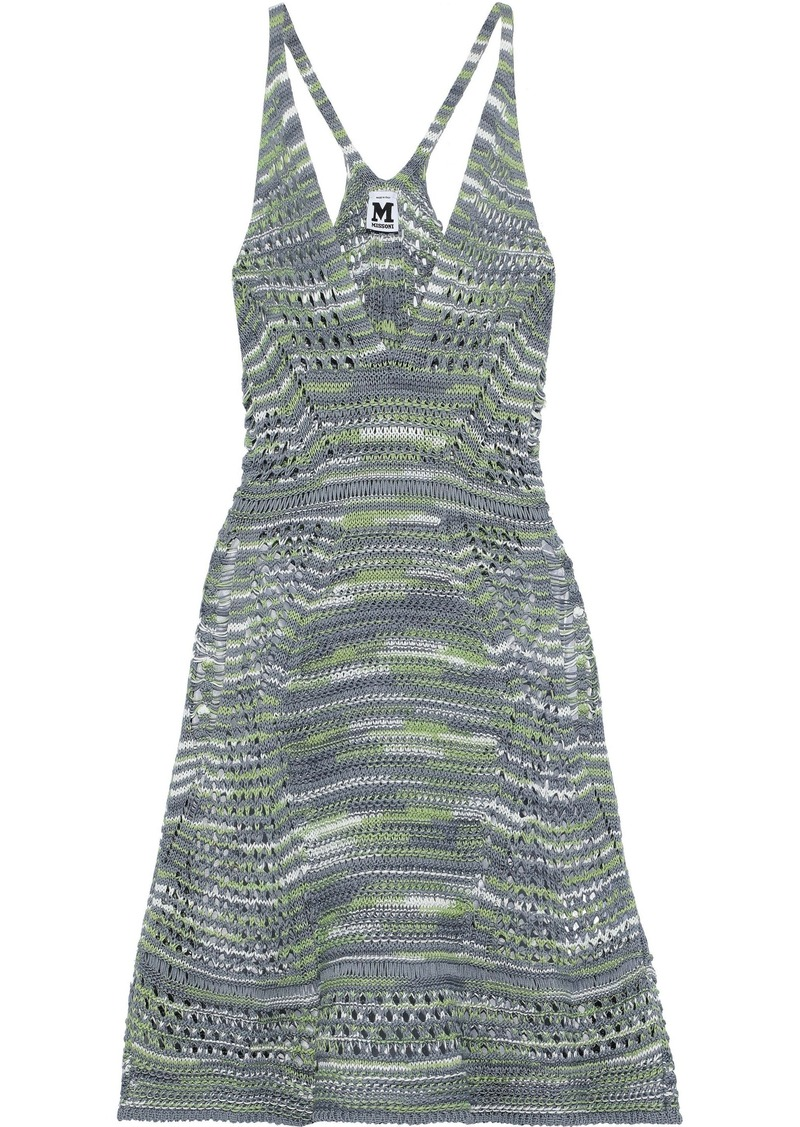 M Missoni Woman Open-knit Cotton And Linen-blend Dress Grey Green