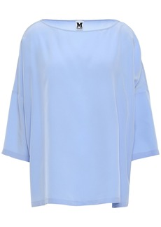 M Missoni Woman Oversized Silk Crepe De Chine Blouse Light Blue
