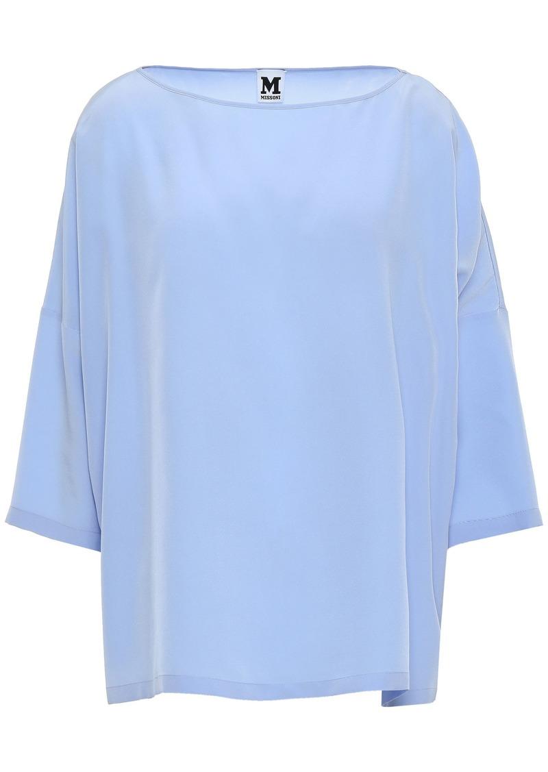 M Missoni Woman Oversized Silk Crepe De Chine Blouse Light Blue