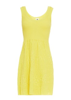 M Missoni Woman Paneled Crochet-knit Cotton Mini Dress Yellow
