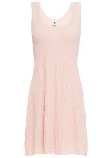 M Missoni Woman Paneled Crochet-knit Cotton Mini Dress Baby Pink