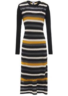 M Missoni Woman Paneled Crochet-knit Wool-blend Midi Dress Black