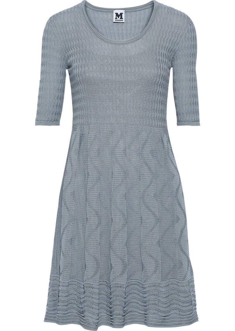 M Missoni Woman Pleated Crochet-knit Cotton-blend Mini Dress Light Blue