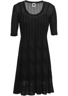 M Missoni Woman Pleated Crochet-knit Mini Dress Black