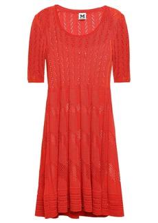 M Missoni Woman Pleated Crochet-knit Mini Dress Red
