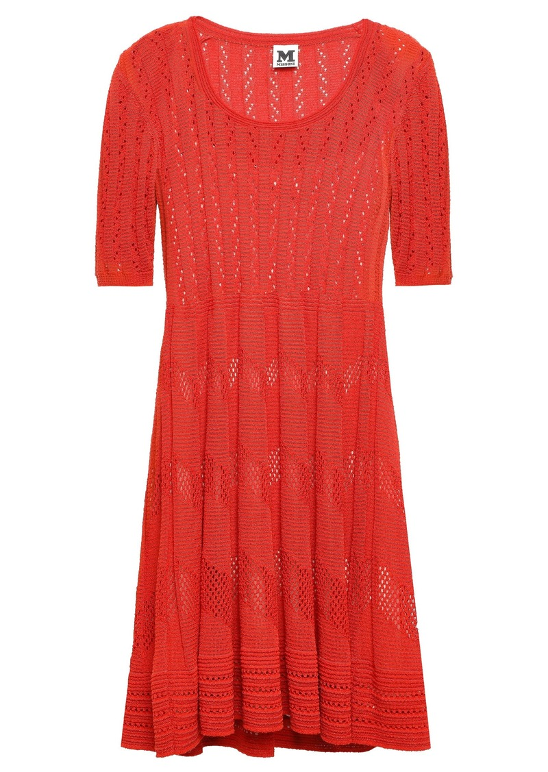 M Missoni Woman Pleated Crochet-knit Mini Dress Red