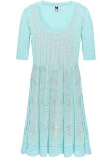 M Missoni Woman Pleated Crochet-knit Mini Dress Turquoise
