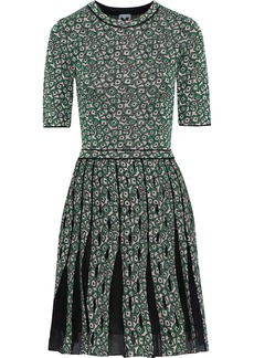 M Missoni Woman Pleated Jacquard-knit Mini Dress Green