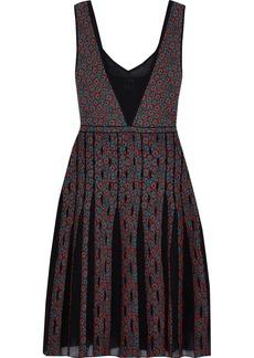 M Missoni Woman Pleated Mesh-paneled Jacquard-knit Dress Claret