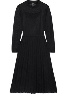 M Missoni Woman Pleated Metallic Crochet-knit Cotton-blend Midi Dress Black