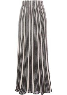 M Missoni Woman Pleated Metallic Crochet-knit Maxi Skirt Forest Green