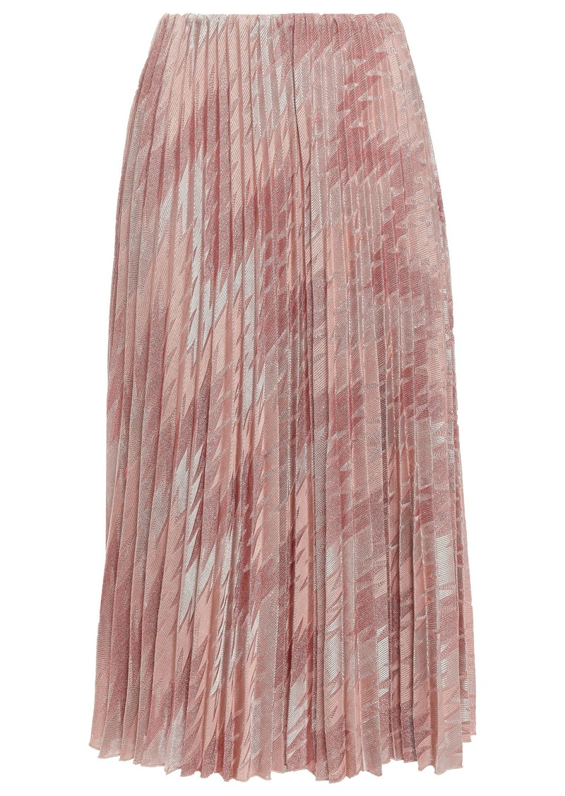 M Missoni Woman Pleated Metallic Crochet-knit Midi Skirt Antique Rose